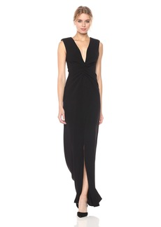 Halston Heritage Women's Cap Sleeve V Neck Rouched Front Gown