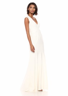 Halston Heritage Women's Cap Sleeve V Neck Ruched Detail Crepe Gown