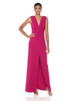 Halston Heritage Women's Cap Sleeve V Neck Ruched Front Gown