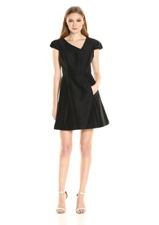 HALSTON HERITAGE Women's Cap Sleeve V Neck Silk Faille Dress