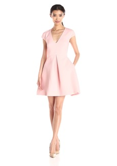 HALSTON HERITAGE Women's Cap Sleeve V-Neck Structure Dress with Cut Out Back