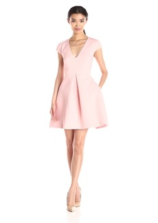 Halston Heritage Women's Cap-Sleeve V-Neck Structure Dress with Cutout Back