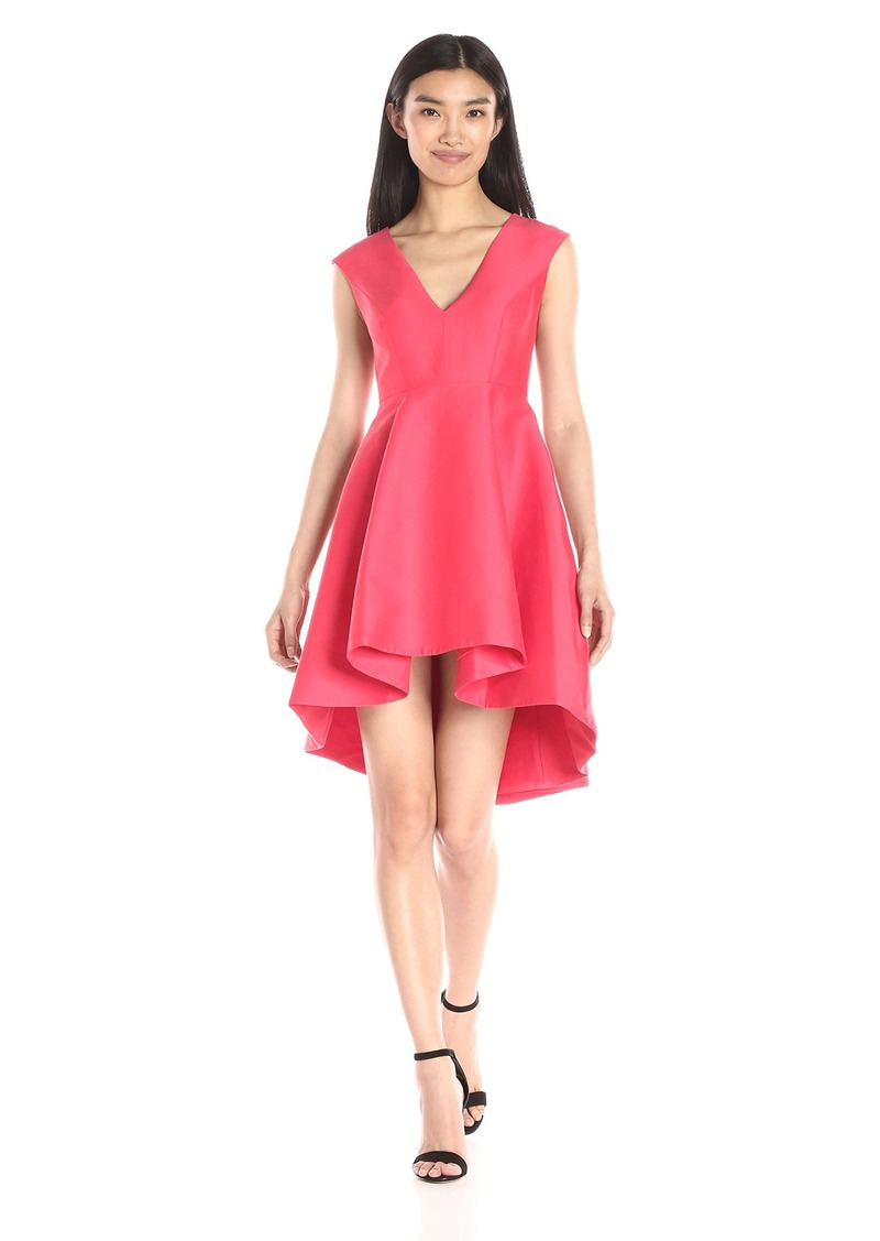 Halston Heritage Women's Cap Sleeve V-Neck Structured Dress with High/Low Skirt