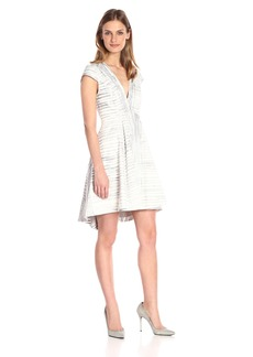Halston Heritage Women's Cap SLV V Neck Printed Structured Dress Flint Engineered Stripe