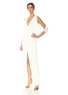Halston Heritage Women's Cape Sleeve Deep V Neck Open Back Gown