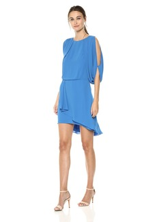 Halston Heritage Women's Cape Sleeve Draped Open Back Dress