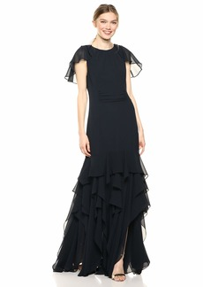 Halston Heritage Women's Cape Sleeve Gown with Flounce Skirt