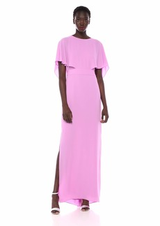 Halston Heritage Women's Cape Sleeve High-Neck Gown with Drape Back Detail