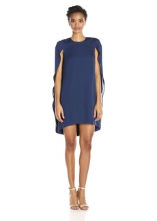 HALSTON HERITAGE Women's Cape Sleeve Round Neck Dress