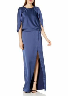 Halston Heritage Women's Cape Sleeve Round Neck Satin Gown