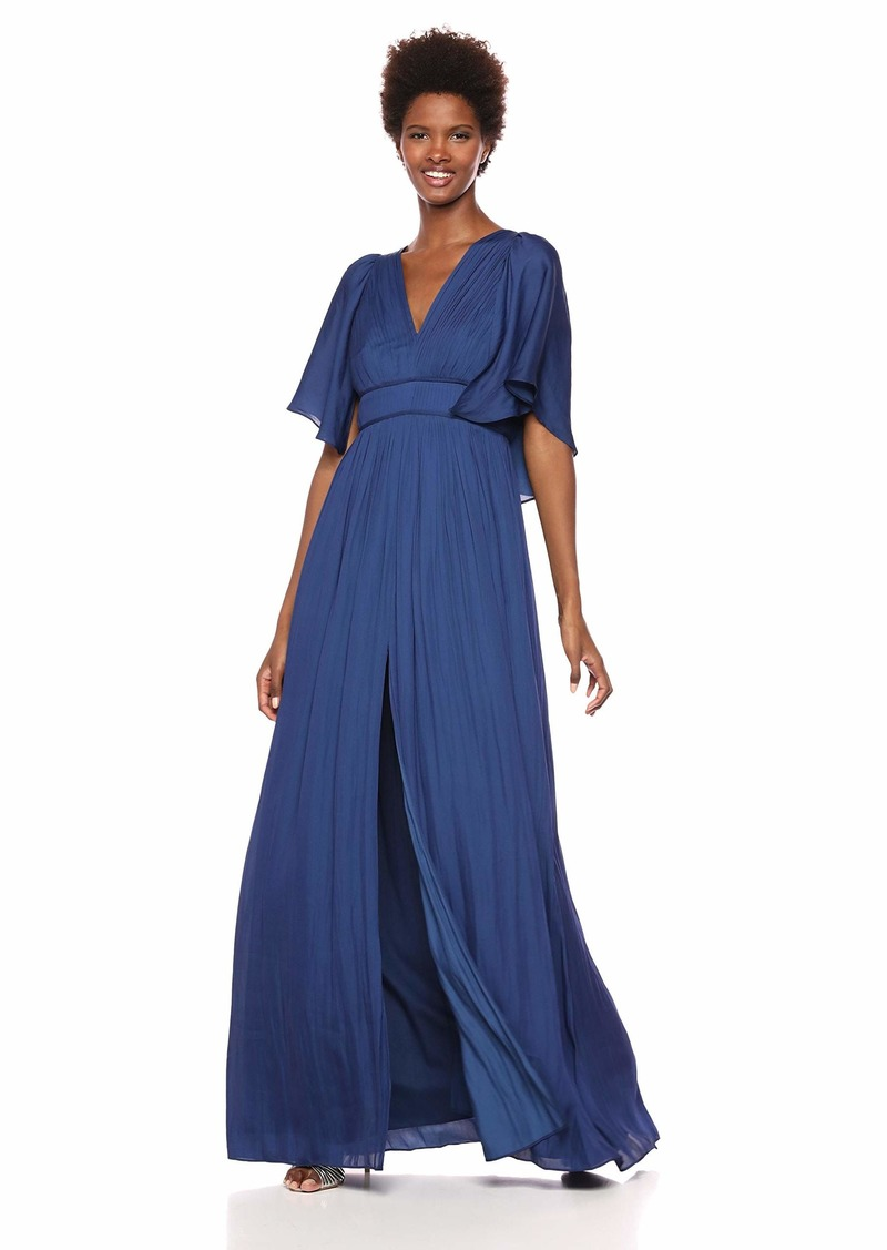 Halston Heritage Women's Cape Sleeve V Neck Flowy Pleated Gown