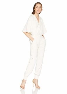 Halston Heritage Women's Cape Sleeve V Neck Tape Detail Jumpsuit with Hood