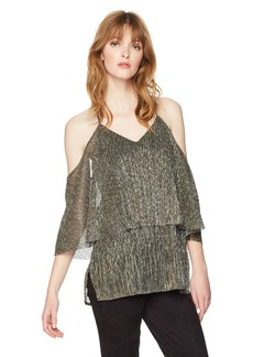 Halston Heritage Women's Cold Shoulder Flounce Metallic Top