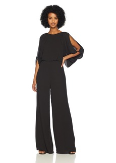 Halston Heritage Women's Cold Shoulder High Neck Draped Open Back Jumpsuit