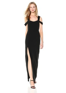 Halston Heritage Women's Cold Shoulder Open Neck Fitted Crepe Gown