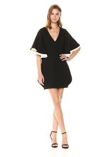 Halston Heritage Women's Colorblocked V Neck Dress with Flounce Sleeve