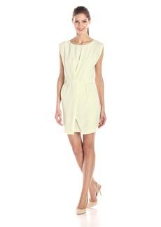 HALSTON HERITAGE Women's Crepe Cap Sleeve Dress with Wrap Skirt