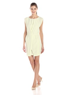 Halston Heritage Women's Crepe Cap-Sleeve Dress with Wrap Skirt