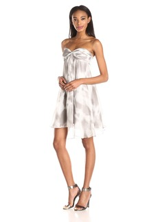 HALSTON HERITAGE Women's Crinkle Chiffon Strapless Front Drape Cocktail Dress