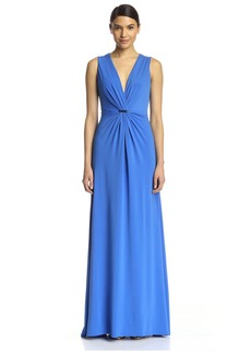 Halston Heritage Women's Deep V-Neck Gown with Twist Front Drape  M