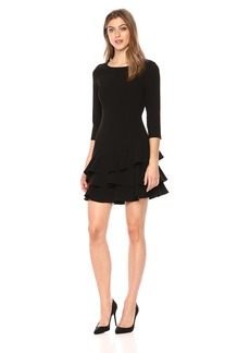 Halston Heritage Women's Elbow Sleeve Round Neck Dress with Flounce Skirt