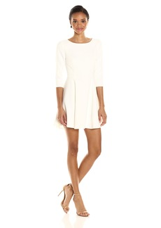 Halston Heritage Women's Elbow Sleeve Scoop Neck Dress