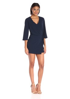 HALSTON HERITAGE Women's Elbow Sleeve V Neck Dress with Overay and Ties