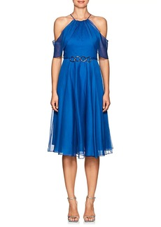 Halston Heritage Women's Embellished Chiffon Cold-Shoulder Dress