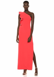Halston Heritage Women's Flounce ONE Shoulder Crepe Gown