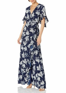 Halston Heritage Women's Flounce Sleeve Printed WRAP Gown with TIE Belt Closure Navy/Cream Abstract Floral