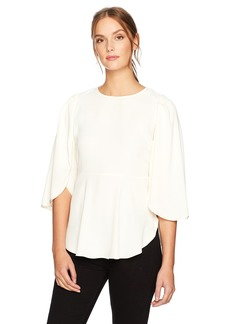Halston Heritage Women's Flounce Sleeve Top with Waist Seam