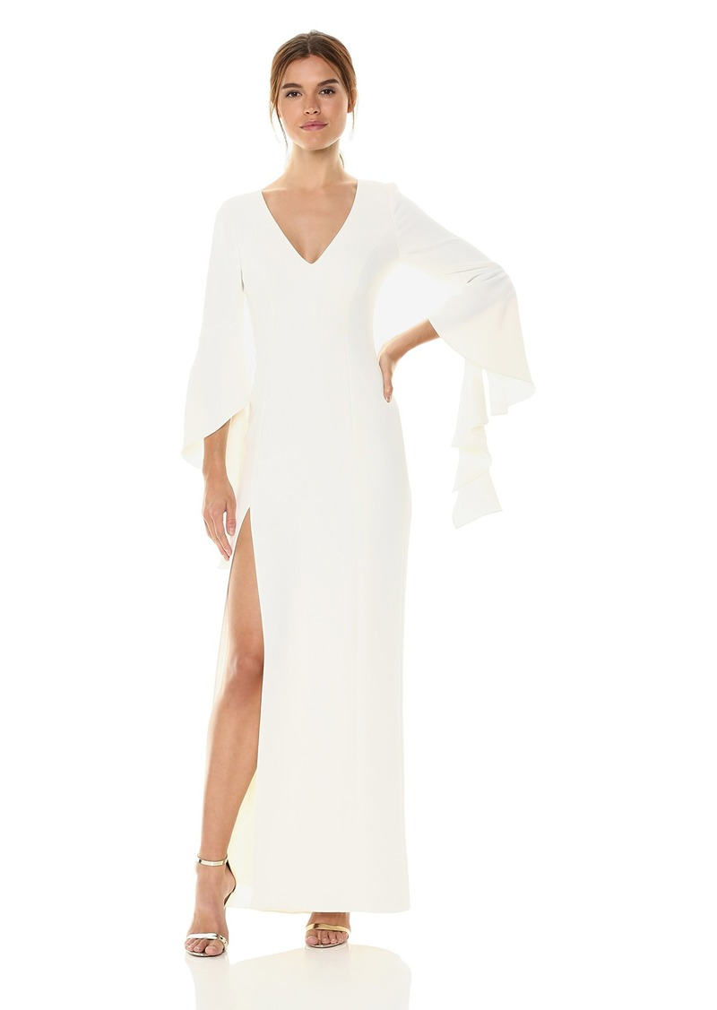 Halston Heritage Women's Flounce Sleeve V Neck Gown