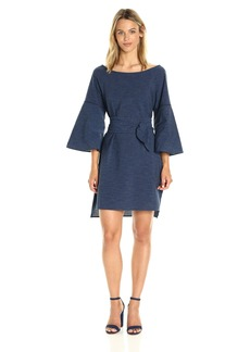 Halston Heritage Women's Flounce Sleeve Wide Boatneck Dress  M