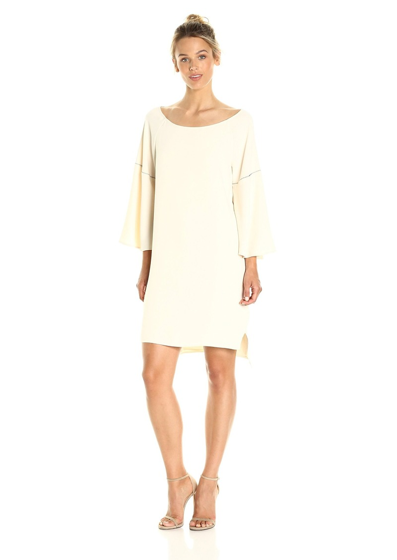 Halston Heritage Women's Flounce Sleeve Wide Boatneck Dress with Emboridery Detail  L