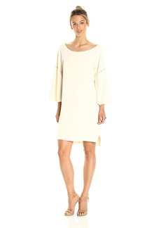 Halston Heritage Women's Flounce Sleeve Wide Boatneck Dress with Emboridery Detail  M
