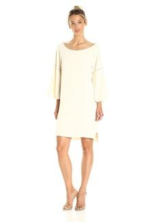HALSTON HERITAGE Women's Flounce Sleeve Wide Boatneck Dress with Emboridery Detail  S