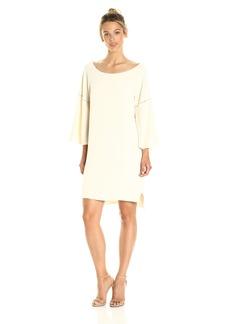 HALSTON HERITAGE Women's Flounce Sleeve Wide Boatneck Dress with Emboridery Detail  XS