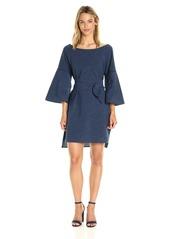 Halston Heritage Women's Flounce Sleeve Wide Boatneck Dress  XS