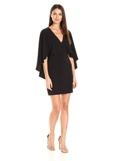 Halston Heritage Women's Flowy Cape Sleeve V Neck Crepe Dress