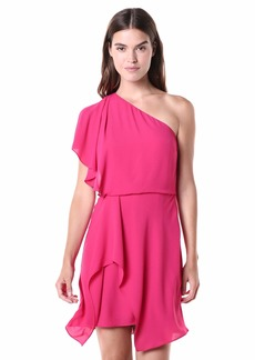 Halston Heritage Women's Flowy ONE Shoulder Dress with Draped Skirt