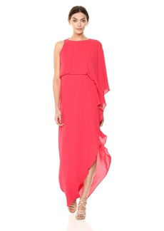 Halston Heritage Women's Flowy One Sleeve Round Neck Gown with Back Cowl Rose red