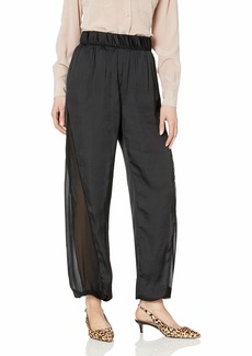 Halston Heritage Women's Flowy Pants with Sheer Side Panel  M