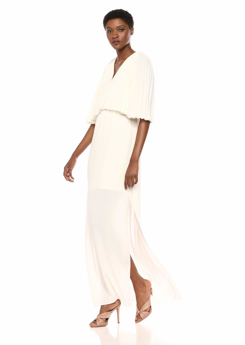 Halston Heritage Women's Flowy Pleated Sleeve V Neck Tie Back Gown