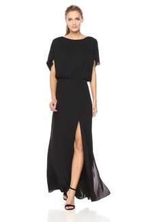 Halston Heritage Women's Flowy Short Sleeve Wide Boatneck Gown with Split  S