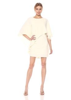 HALSTON HERITAGE Women's Flowy Sleeve Boat Neck Asymmetrical Drape Dress