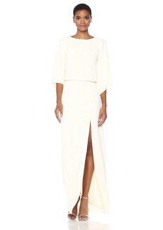 Halston Heritage Women's Flowy Sleeve Boat Neck Gown with Back Embellishment