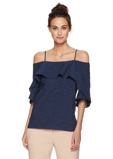 Halston Heritage Women's Flowy Sleeve Cold Shoulder Denimtop