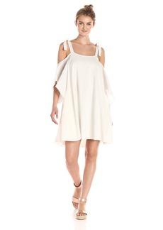 Halston Heritage Women's Flowy Sleeve Cold Shoulder Dress with Ties  S