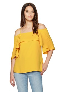 Halston Heritage Women's Flowy Sleeve Cold Shoulder Top