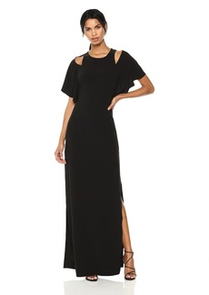 Halston Heritage Women's Flowy Sleeve Gown w Cut Outs